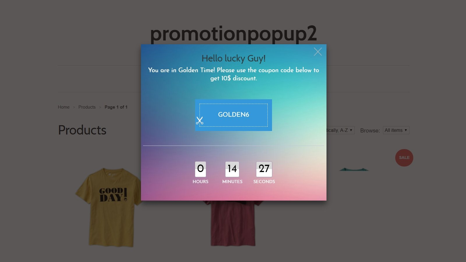 shopify promotion popup app by Secomapp - Coupon popup