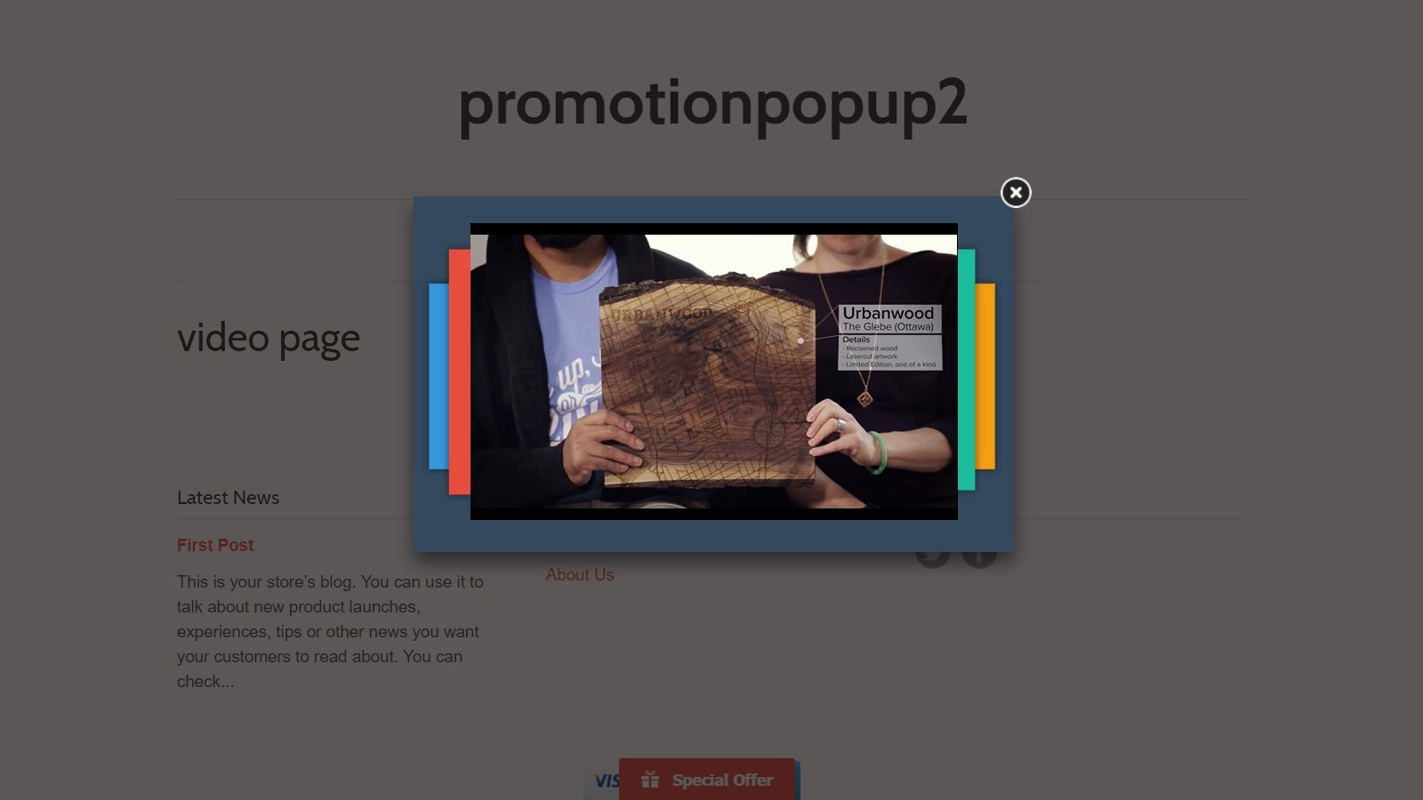 shopify promotion popup app by Secomapp - video popup