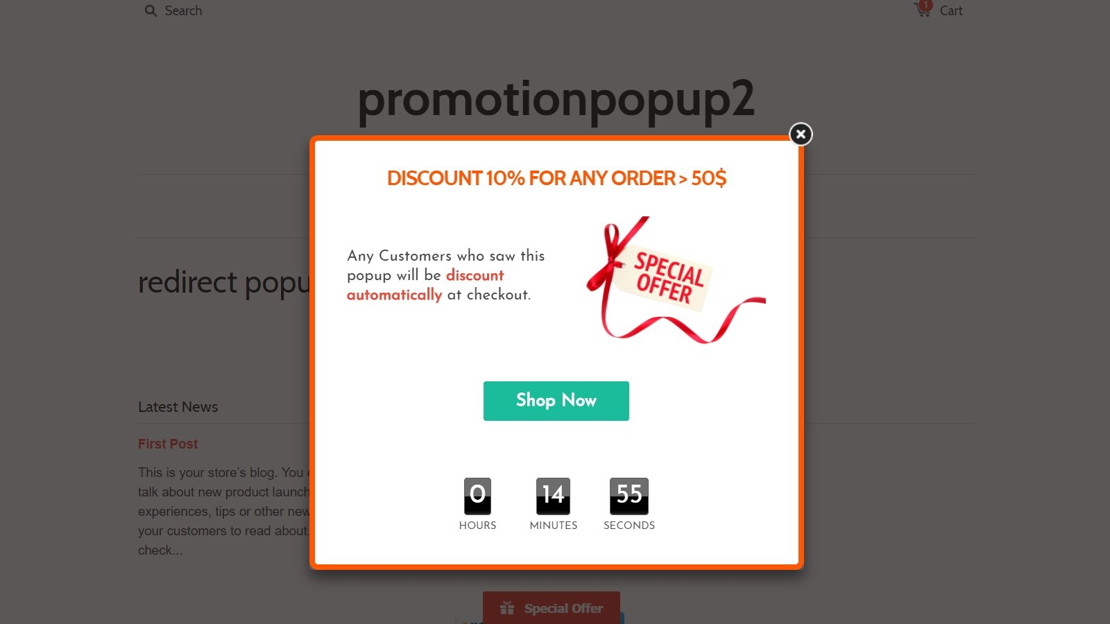 shopify promotion popup app by Secomapp - discount order popup