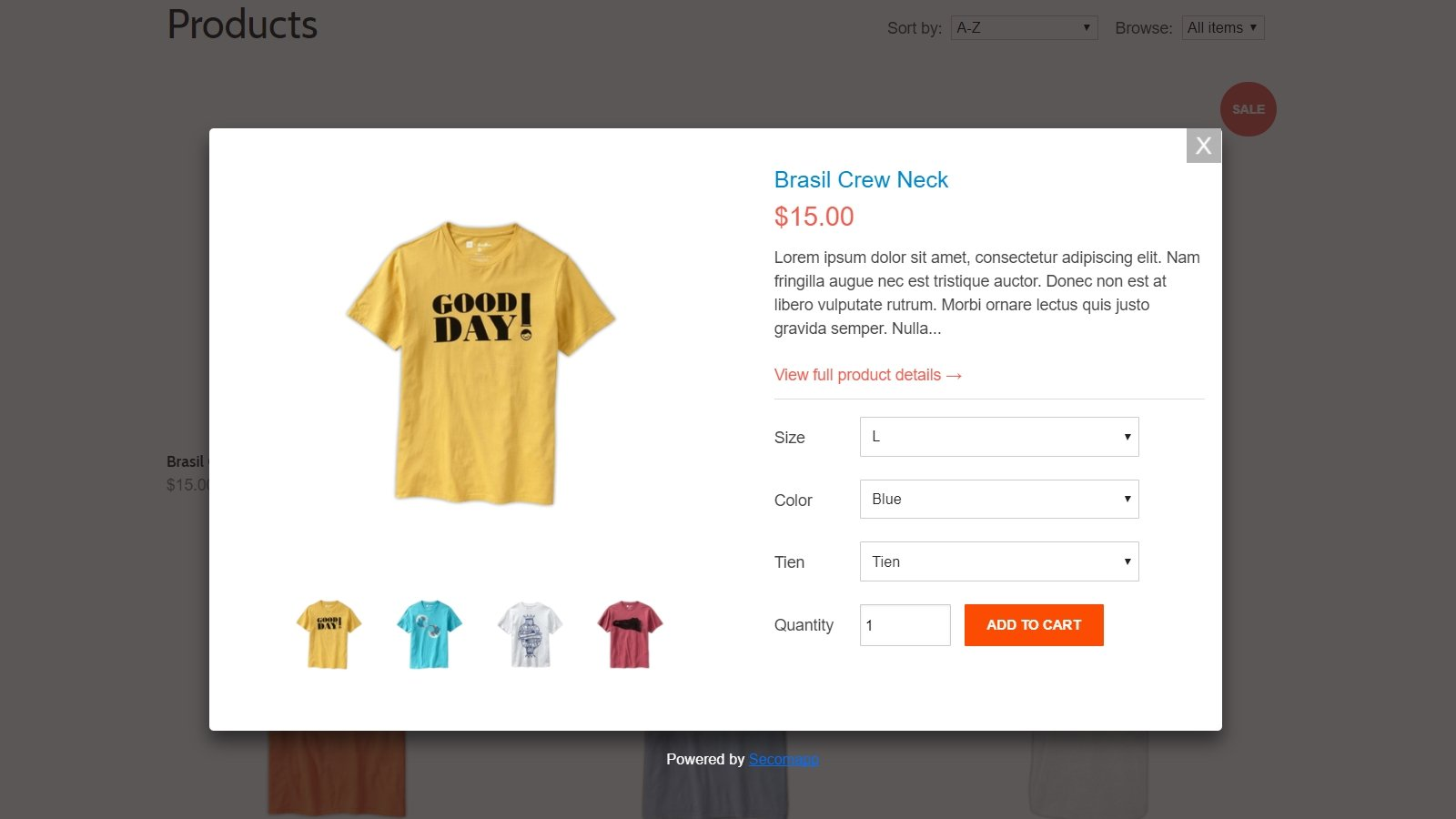 shopify quick view app by Secomapp - quick view popup