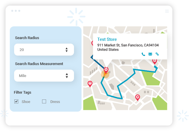 Shopify Store Locator app finds store locations with various criteria.