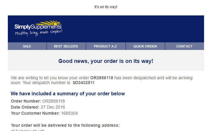 Despatch onfirmation email from SimplySupplement